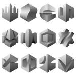 Vector boolean 3D design elements — Stock Vector #14126183