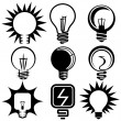 Stock Vector: Bulbs icons illustration