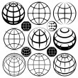 Globe signs. Vector globe sign set. — Stock Vector