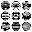 Stock Vector Illustration: Collection of Premium Quality and Guarantee Labels with retro vintage styled design — Stock Vector