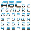 Stock Vector: Metallic font alphabet letters and digits