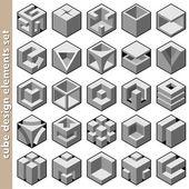 3d куб логотип дизайн-пакет — Cтоковый вектор