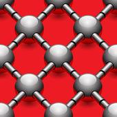 Bolas de cromo en patrón del fondo rojo transparente — Vector de stock
