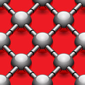 Chrome balls on red background seamless pattern — Stok Vektör