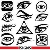 Eye signs. Eye icons vector set — Vetor de Stock