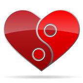 Jing jang heart shape object — Stock Vector