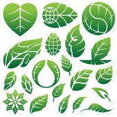 логотип и дизайн элементы-листья иконы — Cтоковый вектор