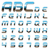 Metallic font alphabet letters and digits — Stock Vector