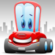 Cheerful toon red car character — Stock Vector #14130733