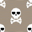 Skull and crossbones seamless pattern — Imagen vectorial