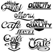 Textual design elements. Collection of Premium Quality, cafe and menu textual designs — Stock Vector