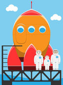 Rocket and astronaut family in spaceport — Stock Vector