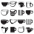 Stock Vector: Cup and mug icon set
