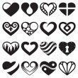 Heart icons and signs set — Stock Vector