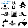 Water signs icons and symbols — Stock Vector