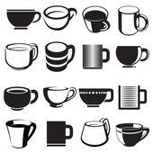 Cup and mug icon set — Stock Vector
