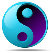 Blue ying-yang shape vector 3d object — Stock Vector