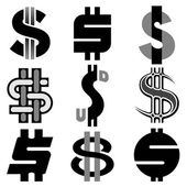 Dollar signs set — Stock Vector