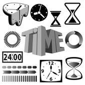 Tempo segni, icone e simboli insieme — Vettoriale Stock