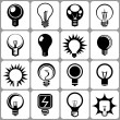Electric bulb icon set — Stok Vektör