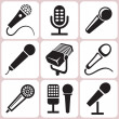 Stock Vector: Microphone icons set