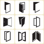 Door icons set — Stock Vector
