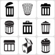 Trash can icons set — 图库矢量图片