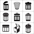 Stock Vector: Trash can icons set