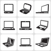 Notebook computer icons set — Vector de stock