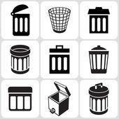 Trash can icons set — Stock Vector