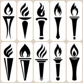 Torch icons set — Stock Vector