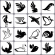 Bird icons set — Stock Vector