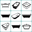 Baths icons set — Stock Vector