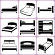 Stock Vector: Bed icons set