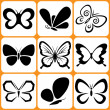 Butterfly icons set — Stock Vector