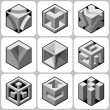 Cube icons set — Stock Vector