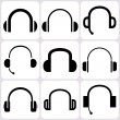 Headphone icons set — Stock Vector