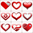 Heart icons set — Stock Vector