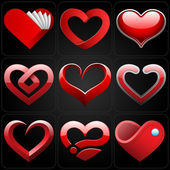 3D heart icons set — Stock Vector