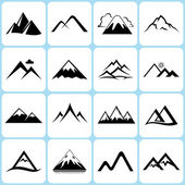 Mountain icons set — Stock Vector