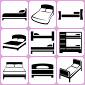 Bed icons set — Stock Vector