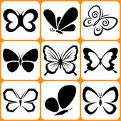 Butterfly icons set — Vettoriale Stock