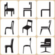Chair Icons Set — Stock Vector