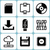Digital Data Icons Set — Stock Vector