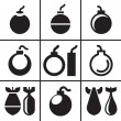 Bombs and missile rocket icons set — Stock Vector #50119683