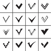 Confirm signs and tick icons set — Stockvector
