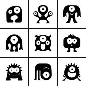 Funny monster icons set — Vector de stock