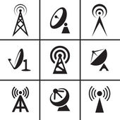 Antenna and satellite dish icons set — Stock Vector