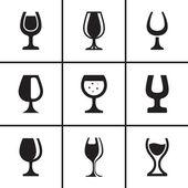 Wineglass icons set — Stock Vector