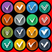 Confirm signs and tick icons set — Vector de stock